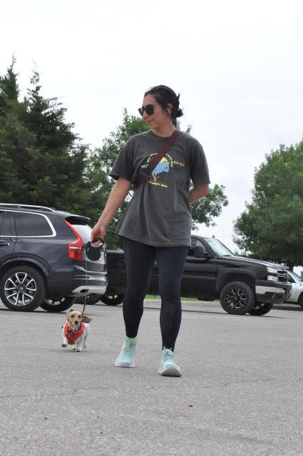 Stephanie Deans jogging with dog